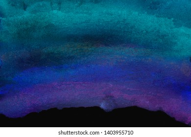 Abstract watercolor illustration on canvas. Hand drawn texture painted with brush and bright navy blue, mazarine, azure ink. Imitation of blue sky. Great basic of design print, poster, business card