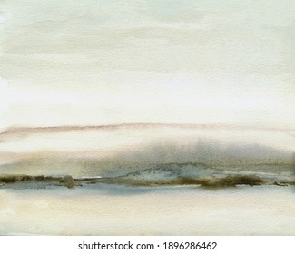 Abstract watercolor landscape painting in neutral gray and brown, hand drawn original painting