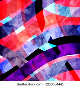 Abstract watercolor multicolored background with different elements