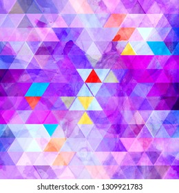 Abstract watercolor multicolored geometric background with different interesting elements. Sample design for the design of covers and web sites.