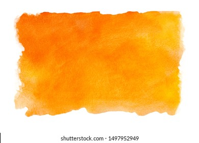 Abstract watercolor orange background on a white isolated background