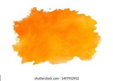 Abstract watercolor orange textured background on white isolated background