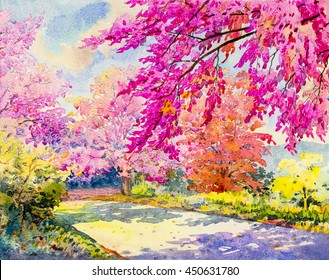 Abstract watercolor original landscape painting pink color of  Wild himalayan cherry and emotion in blue background.