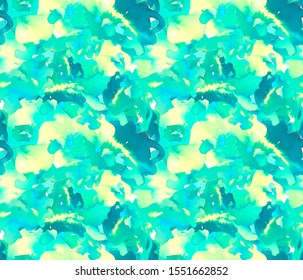 Abstract watercolor painted illustration in blue, yellow and green. Seamless Brush stroked painting background for wallpaper, textile or paper