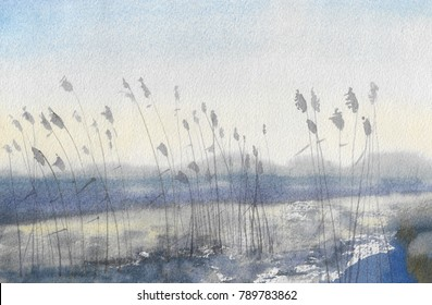 Abstract watercolor painted landscape: early spring, snow and ice are just beginning to melt, near the shore dry grass