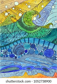 Abstract watercolor painting. Art Nouveau stained glass waves. Expressive wavy pattern