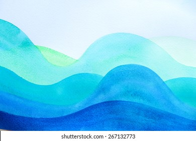 Abstract watercolor painting. Art Nouveau stained glass waves. Expressive wavy pattern. Backgrounds & textures shop.
