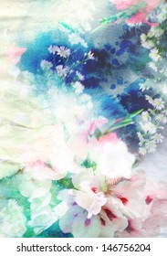 Abstract watercolor painting combined with flowers on paper texture