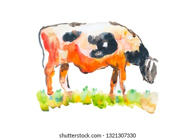 An abstract watercolor painting of a cow eating grass isolated on white background, animal illustration