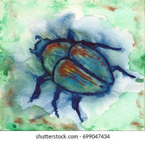 Abstract watercolor painting of a Japanese beetle on a mottled background