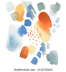 Abstract watercolor painting on a white background. Bright spots of paint, stains in ink.