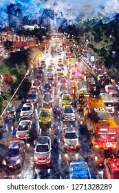 Abstract watercolor painting of traffic jam on road at night