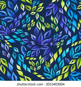 Abstract watercolor pattern with leaves. Background for the design.