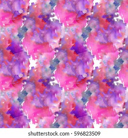 Abstract watercolor pattern. Pink, red and violet color.