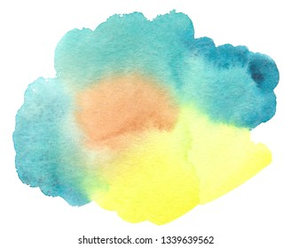 Abstract watercolor splash isolated on white background. Azure and yellow colors. Mix color overflow.