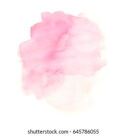Abstract watercolor stain, hand drawn colorful pink beautiful illustration isolated on white background.