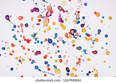 Abstract watercolor texture in colorful is dots isolated on white background