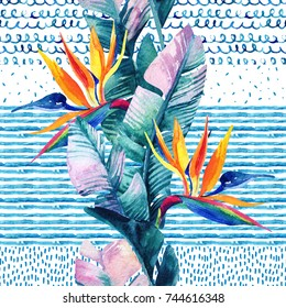 Abstract watercolor tropical seamless pattern. Exotic flowers, leaves on marine doodle background in blue colors. Hand drawn art illustration in minimal style.
