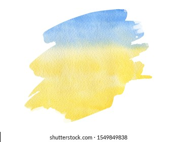 Abstract watercolor yellow blue like sea beach and sky textured background on white isolated background