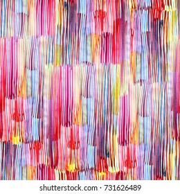 Abstract watercolour stripes pattern allover background vivid colour. Watercolor splash brushes amazing geometric backdrop seamless. Vivid color lines paining.