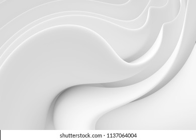 Abstract Wave Background. Minimalistic Graphic Design. White Milk Wallpaper. 3d Illustration