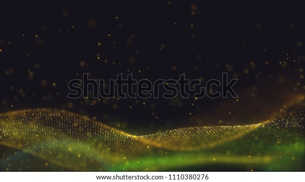 Abstract wavy structure with millions of glowing particles. Colorful blurred magic background with luminous dots and depth of field effect. Lots of little shining sparkles. 3d rendering