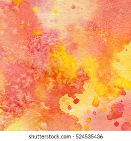 Abstract Wet Watercolor Background. Red, orange. Aquarelle cards with Place for Your Text