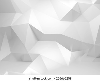 Abstract white 3d background with polygonal pattern on the wall