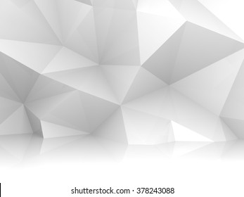 Abstract white 3d interior with chaotic polygonal relief pattern on the wall