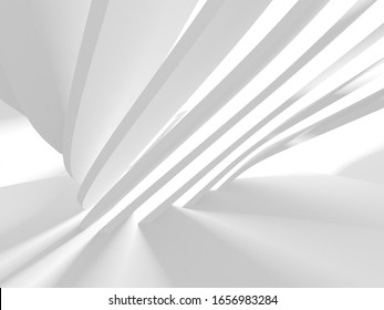 Abstract White Architecture Design Concept. 3d Render Illustration
