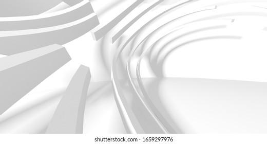 Concept abstrait De Conception D'Architecture Blanche. Illustration Rendu 3d