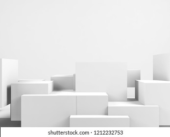 Abstract white background with copy space over installation of random cubes, 3d render illustration