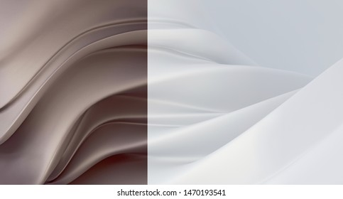 Abstract white background with dusty brown mother-of-pearl segment. Luxurious dusty brown background. 3D rendering.