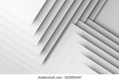 Abstract white background, geometric pattern of paper corners and shadows. 3d render illustration