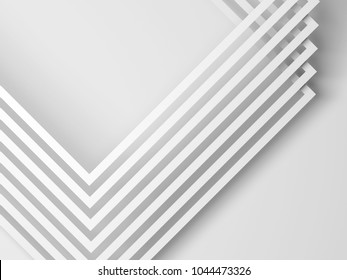 Abstract white background, geometric pattern of square paper frames corners. 3d illustration