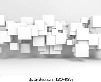 Abstract white background with installation of flying cubes in empty room interior. 3d render illustration
