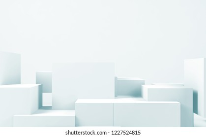 Abstract white  background with random cubes installation, blue toned 3d render illustration