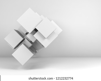 Abstract white background with  random structure of cubes in empty interior. 3d render illustration