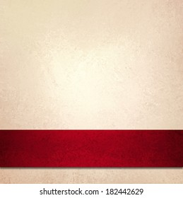 abstract white background and red ribbon stripe, beautiful Christmas background, anniversary, valentines day, or fancy elegant pale gold background paper, vintage background texture, luxurious