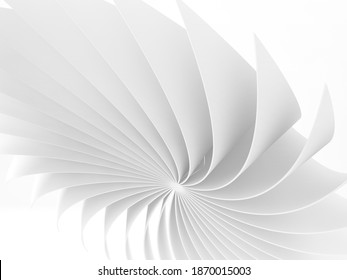 Abstract white bent parametric structure, digital graphic background, 3d rendering illustration