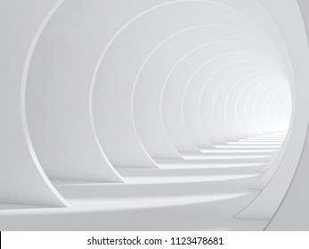 Abstract white bent tunnel, modern cg background. 3d render illustration