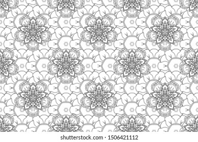 Abstract white and black geometric modern design. Circles seamless pattern. Art deco style. Raster shiny backdrop. Texture of motley foil.