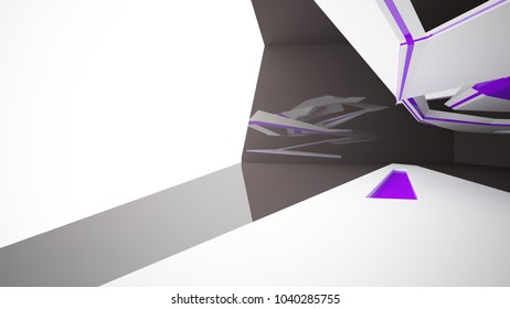 Abstract white, black and violet interior with window. 3D illustration and rendering.