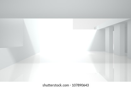 abstract white building on a white background