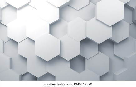 Abstract white cg background with hexagon pattern on wall, 3d illustration