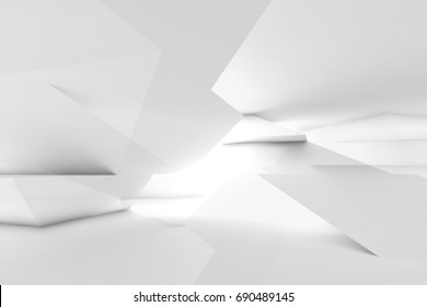 Abstract white cg background, intersected low poly structures. Digital 3d illustration, double exposure effect