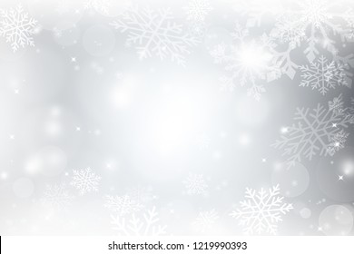 Abstract white christmas background with snowflakes, snow fall and bokeh. Abstract chrismas background