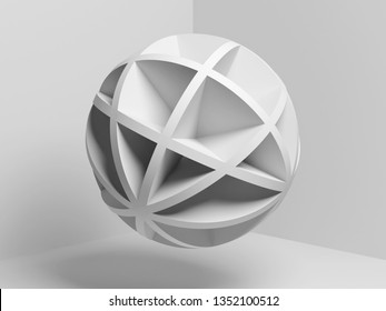 Abstract white compound spherical object over empty room background, 3d render illustration