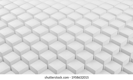 Abstract white cube geometry wave pattern motion ,Clean 3D rendering minimal object ripple displacement illustration, modern presentation background, loading screen design