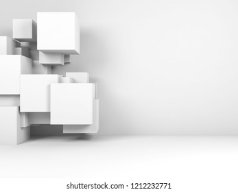 Abstract white digital background with copy space. Random geometric structure of cubes in empty interior. 3d render illustration